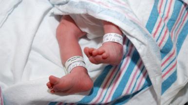Newborn baby feet in hospital